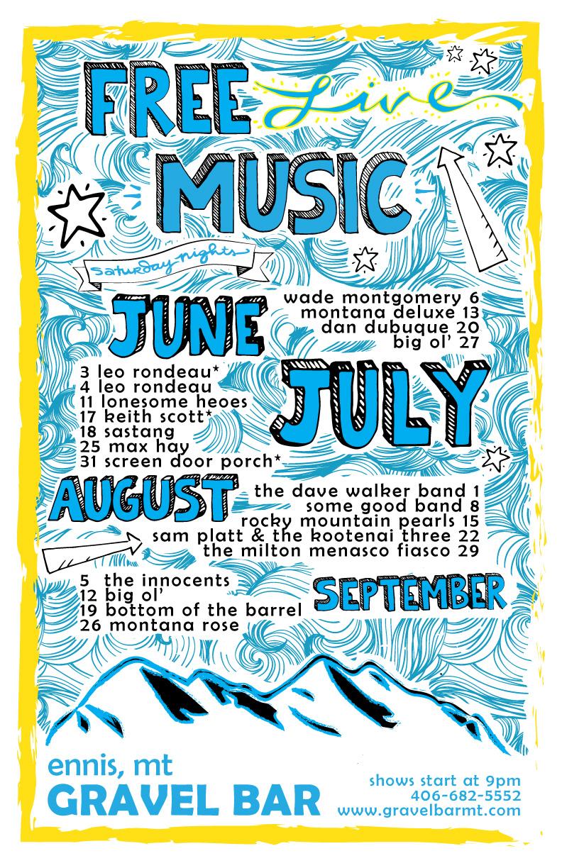 Gravel Bar Summer Music Poster